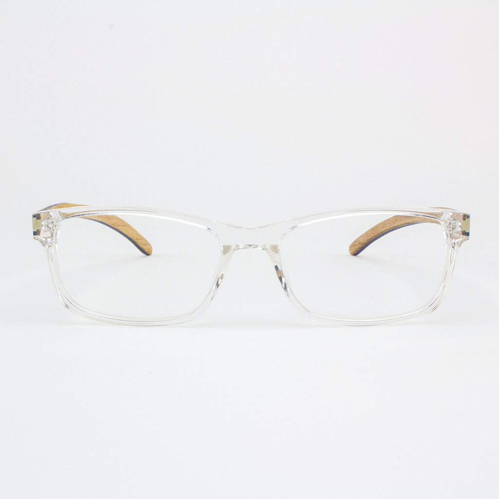 Clear acetate and wood eyeglasses