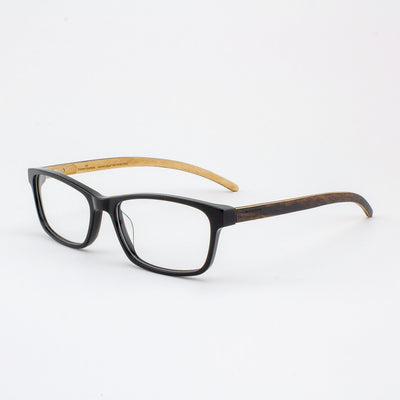 Piano black acetate and wood eyeglasses with ebony temples
