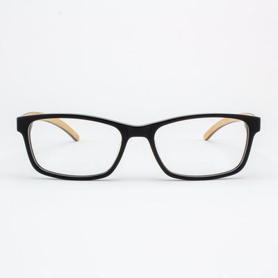 Piano black acetate and wood eyeglasses