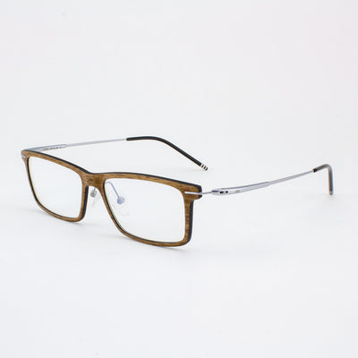Prescription ready, lightweight titanium & walnut wood eyeglass temples