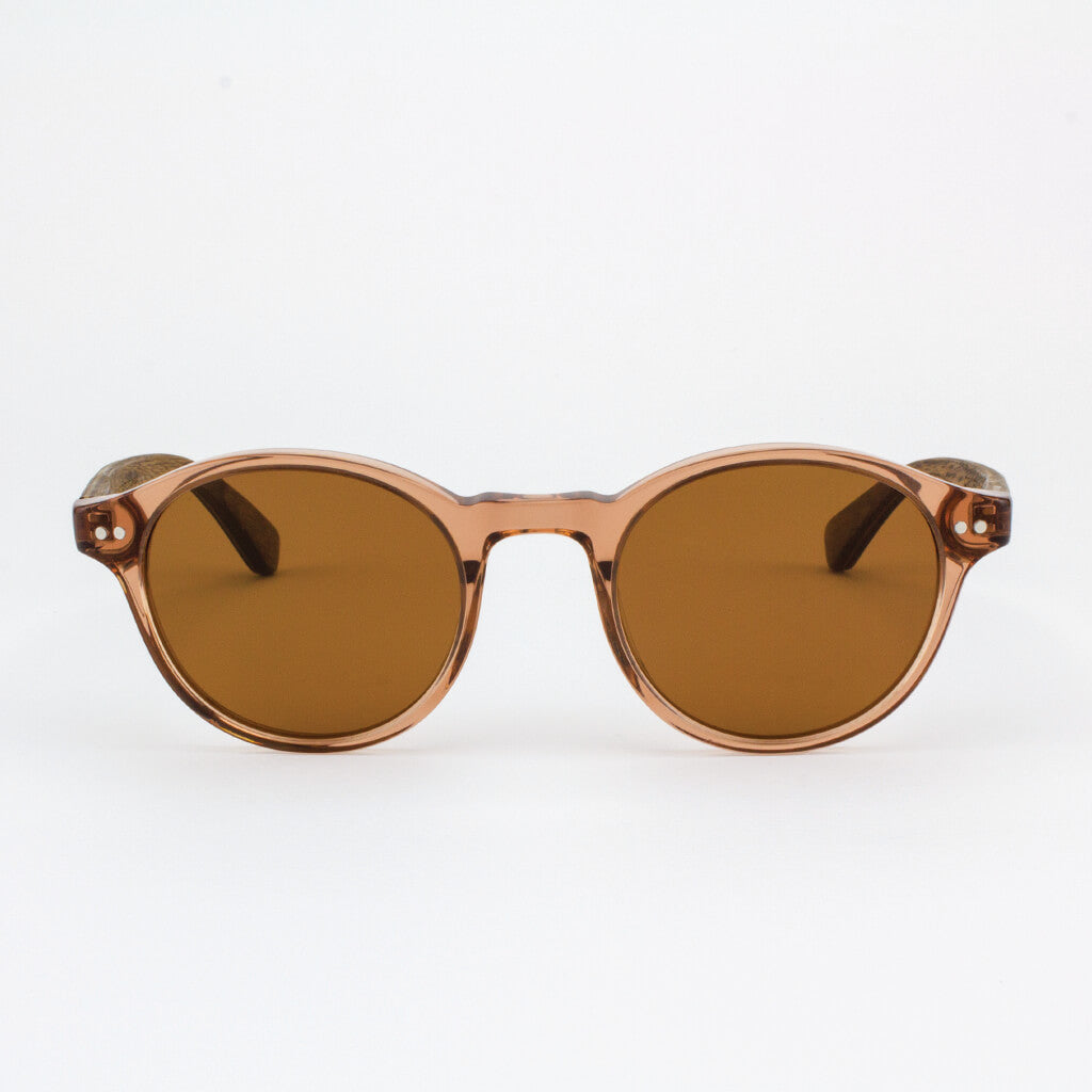 Round champaign acetate & wood sunglasses