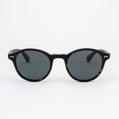 Round dark tortoise shell acetate & wood sunglasses