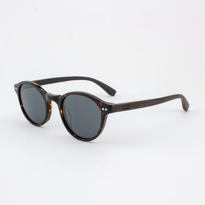 Round dark tortoise shell acetate with ebony wood temples
