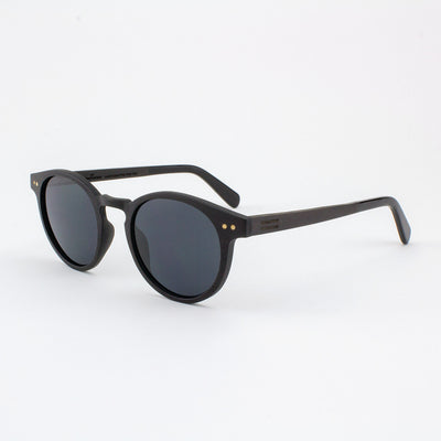 Marion ebony adjustable wood sunglasses with piano black acetate tips