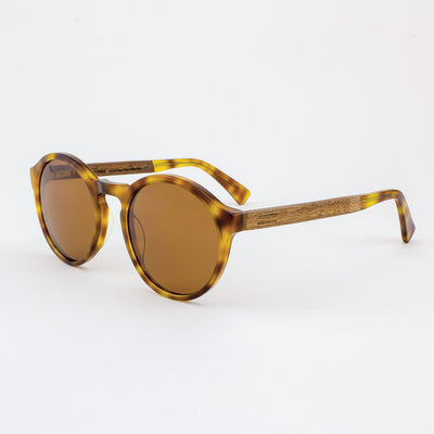 Oversized round tortoise shell acetate & wood sunglass temples