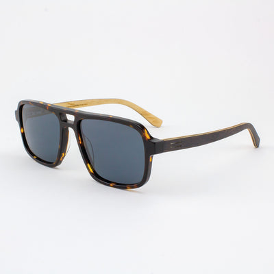 Rockledge Island Skye dark tortoise shell acetate and wood sunglasses with ebony temples