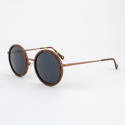 Largo matted gold metal wood sunglasses with tortoise shell acetate tips