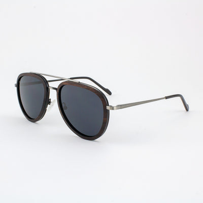 Mayport gunmetal lightweight titanium & ebony rimmed sunglasses with piano black acetate tips