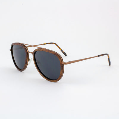 Mayport copper lightweight titanium & rosewood rimmed sunglasses with tortoise shell acetate tips