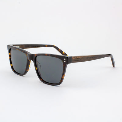 Hawthorne Island Skye dark tortoise shell acetate and wood sunglasses with ebony temples