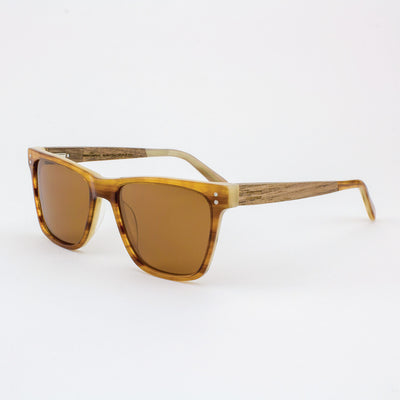 Hawthorne Havana cream and gold strips acetate and wood sunglasses with walnut temples