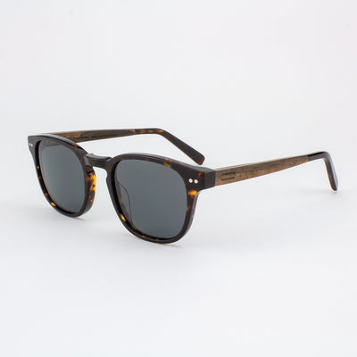 Pinecrest Island Skye dark tortoise shell acetate & wood sunglasses with ebony temples