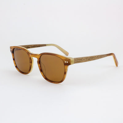 Pinecrest Havana cream and gold strips acetate & wood sunglasses with walnut temples