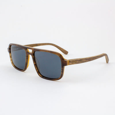 Rockledge tobacco tortoise shell acetate and wood sunglasses with walnut temples