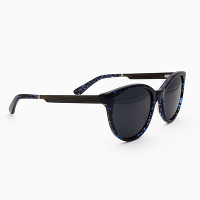 Biscayne Blue Abyss Acetate and wood sunglasses side view