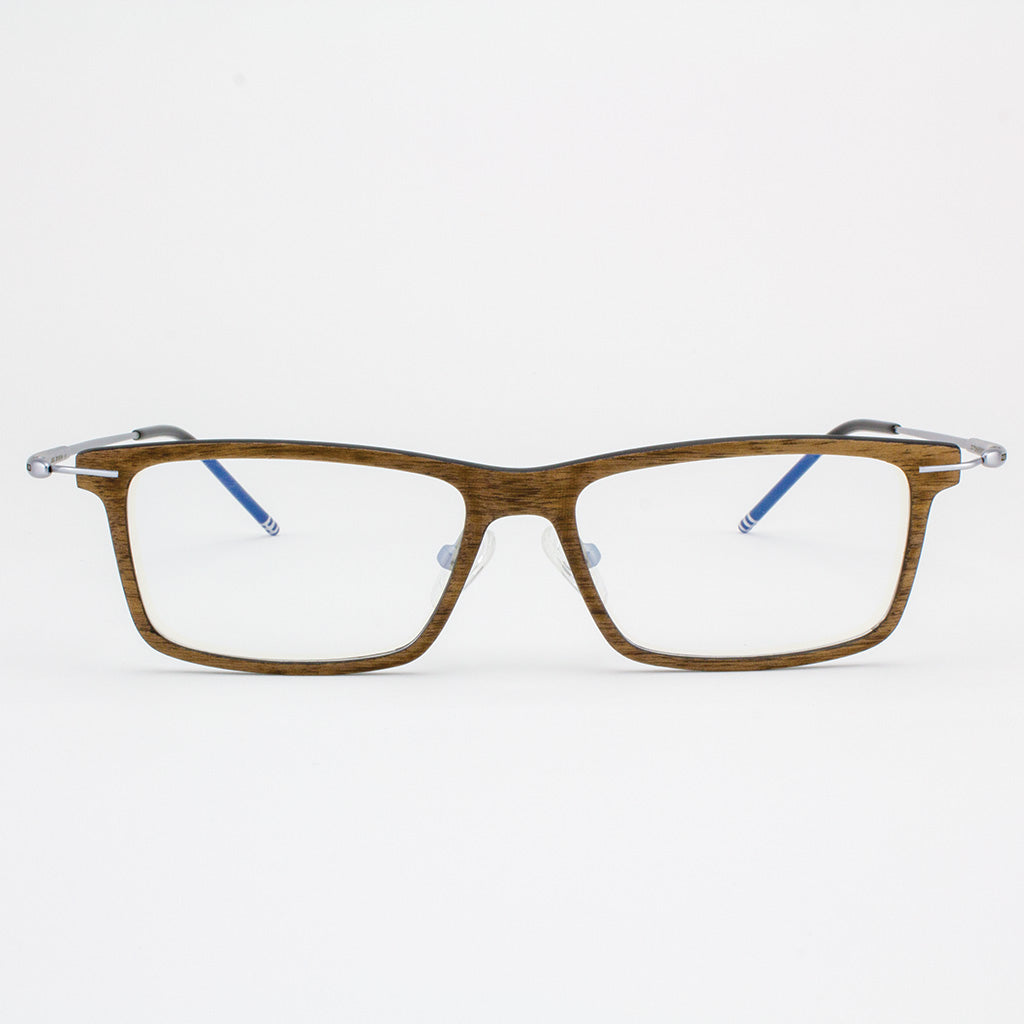 Prescription ready, lightweight titanium & walnut wood eyeglasses