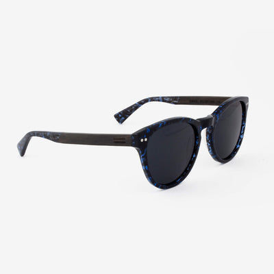 Davie Blue Abyss tortoise shell acetate with ebony wood temples