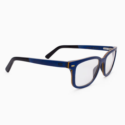 Duval maple blue layered wood eyeglasses with piano black acetate temples
