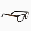 Duval ebony layered wood eyeglasses with piano black acetate temples