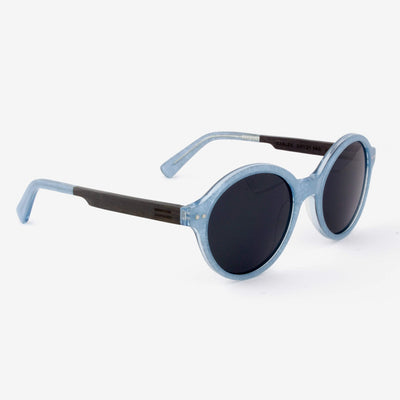 Gables light blue metallic fiber acetate and wood sunglasses with ebony wood temples