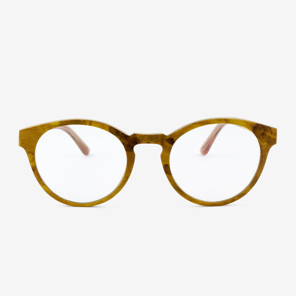 Holmes Gold Camphor Burl adjustable wooden eyeglasses