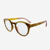 Holmes Gold Camphor Burl adjustable wooden eyeglasses with champaign acetate tips