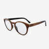 Holmes Red Camphor Burl adjustable wooden eyeglasses with piano black acetate tips