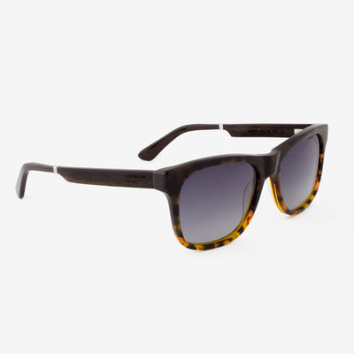 Juno smoke fade tortoise shell acetate and wood sunglasses with ebony temples