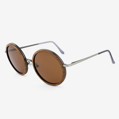 Largo black walnut and brushed metal wood sunglasses with acetate tips