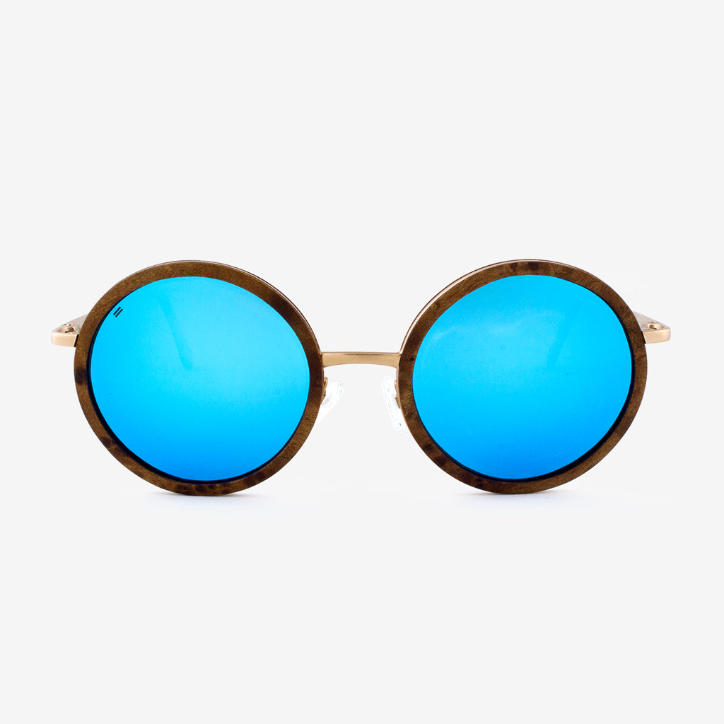 Largo burl and gold metal wood sunglasses