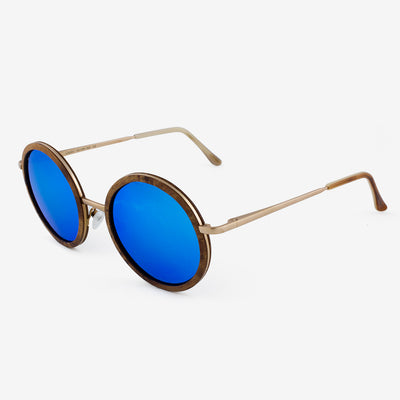 Largo burl and gold metal wooden sunglasses side view