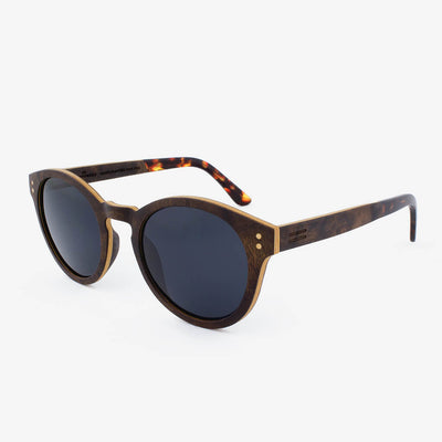 Nassau walnut burl adjustable wood sunglasses with tortoise shell acetate tips