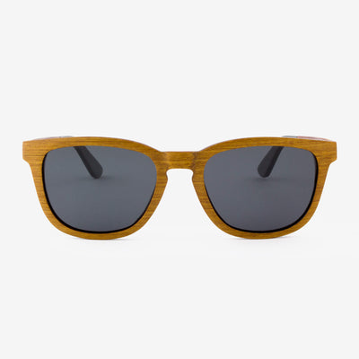 Ormand teak layered wood sunglasses with piano black temples