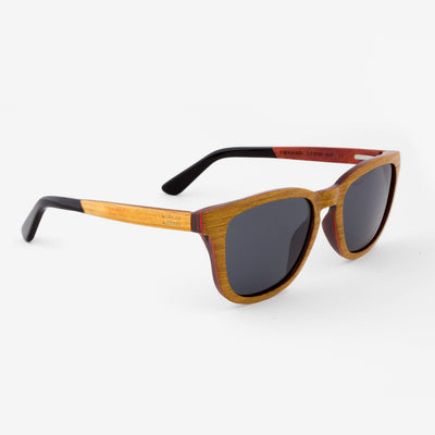 Ormand teak layered wood sunglasses with piano black temples side view