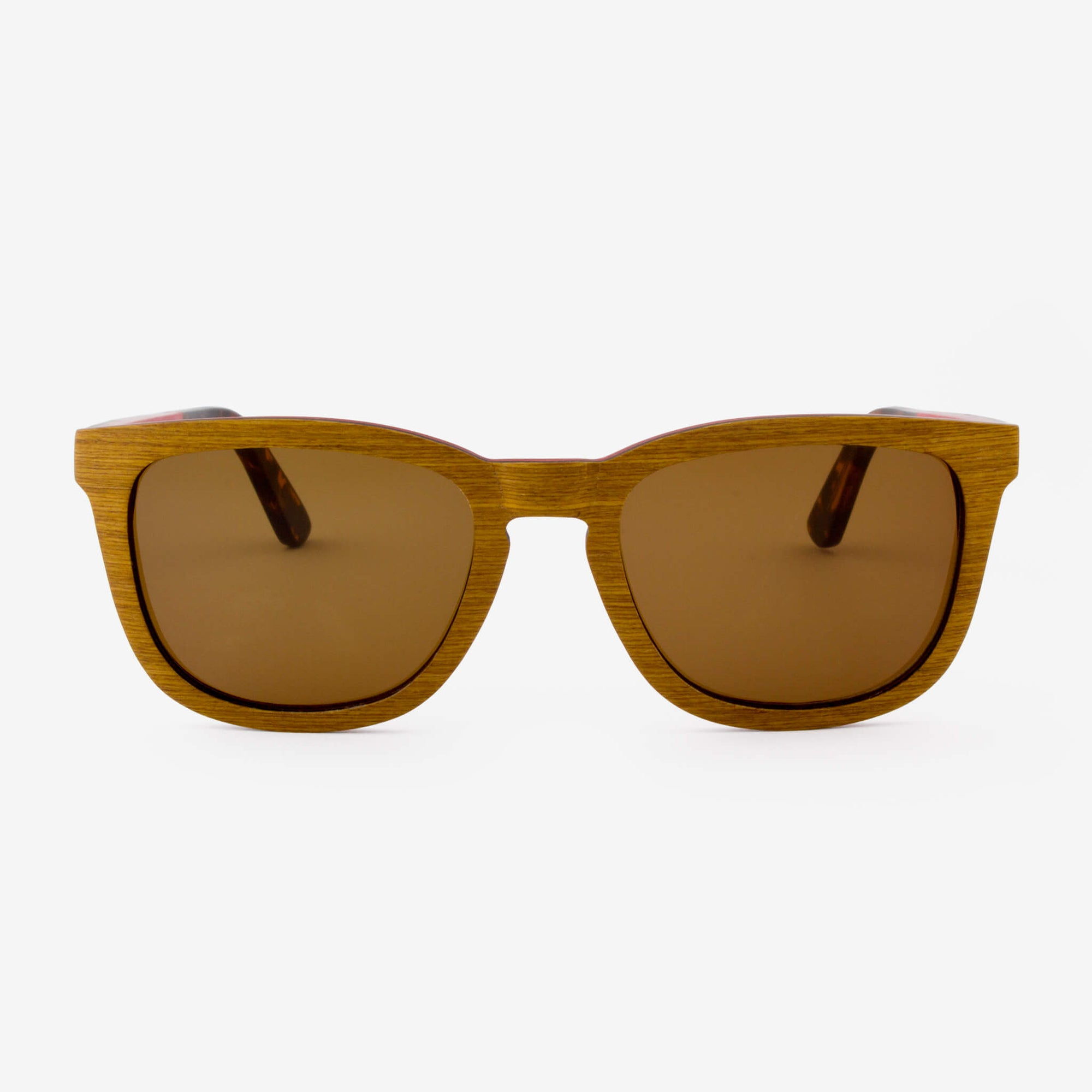 Ormand teak layered wood sunglasses with tortoise shell temples