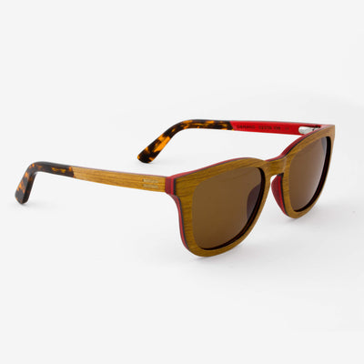 Ormand teak layered wood sunglasses with tortoise shell temples side view