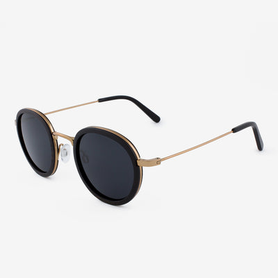 Pasco rose gold lightweight titanium & ebony rimmed wood sunglasses with piano black acetate tips