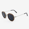 Pasco silver lightweight titanium and rosewood rimmed sunglasses with piano black acetate tips