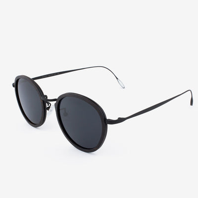 Richey black lightweight titanium & ebony wood sunglass temples