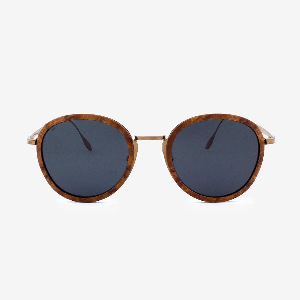 Richey copper lightweight titanium & burl wood sunglasses