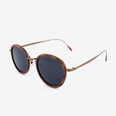 Richey copper lightweight titanium and burl wood sunglasses with red interior tips