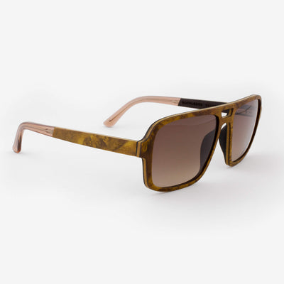 Rockledge burl adjustable wood sunglasses with champaign acetate tips