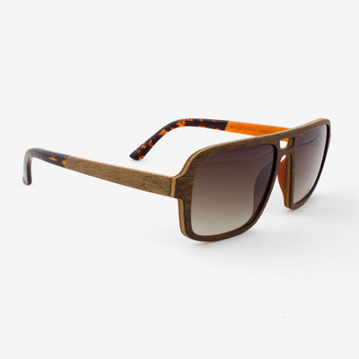 Rockledge black walnut adjustable wood sunglasses with orange interior and tortoise shell acetate tips