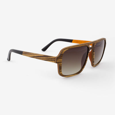 Rockledge zebrawood adjustable wood sunglasses with orange interior and piano black acetate tips