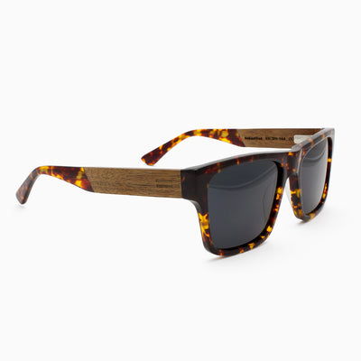 Sebastian tortoiseshell acetate and wood sunglasses with walnut temples