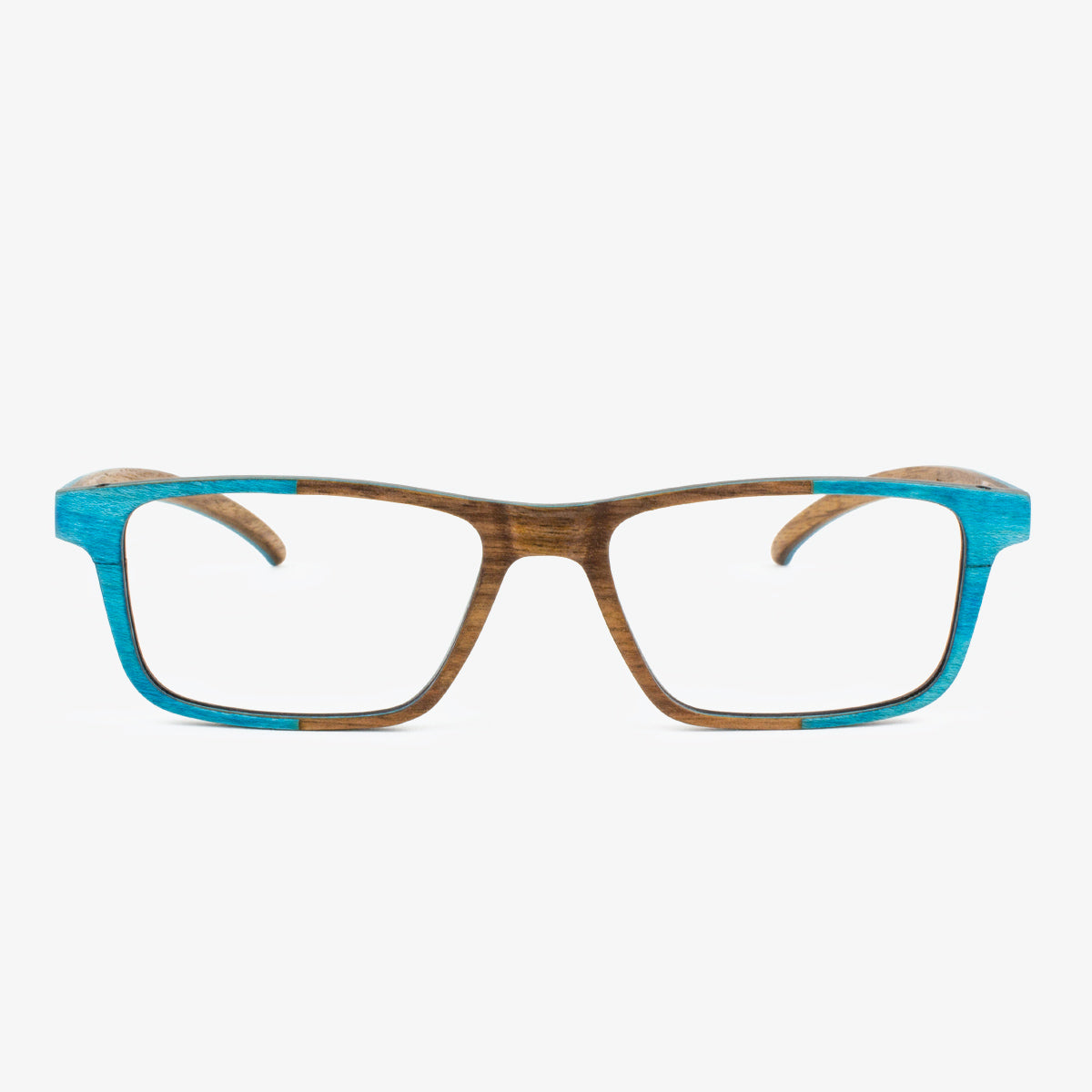 Handcrafted Turquoise and walnut Wooden eyeglass frames