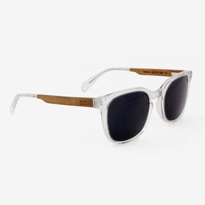 Vero clear acetate and wood sunglasses with walnut temples