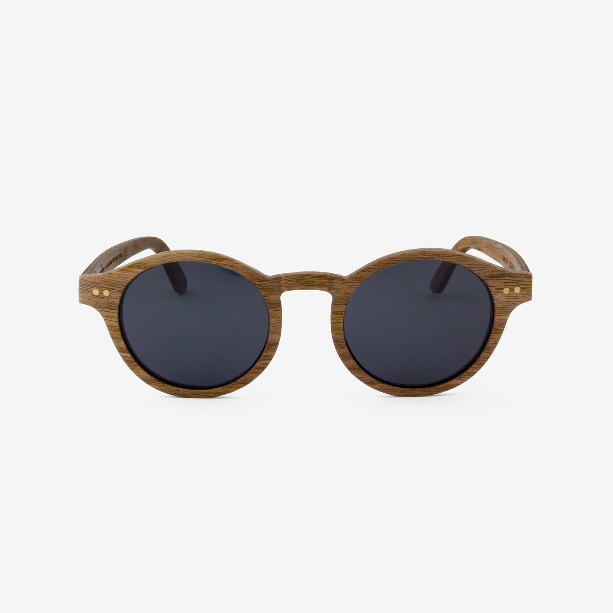 Walton round black walnut adjustable wood sunglasses