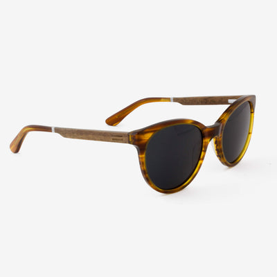 Biscayne Streaming Light Acetate and wood sunglasses side view