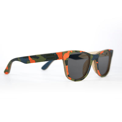 Orange-multi camouflage wood sunglasses
